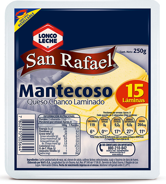 Queso Laminado Chanco San Rafael 250 g.